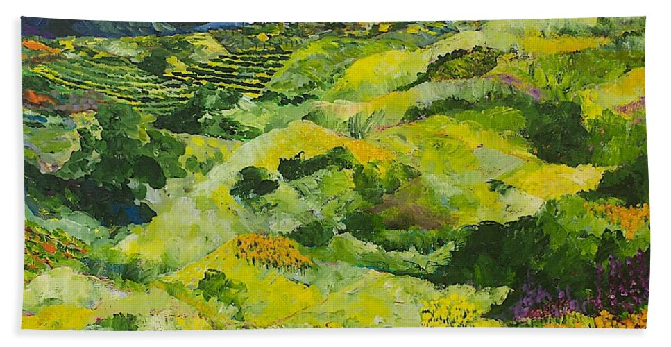 Landscape Bath Sheet featuring the painting Soft Grass by Allan P Friedlander