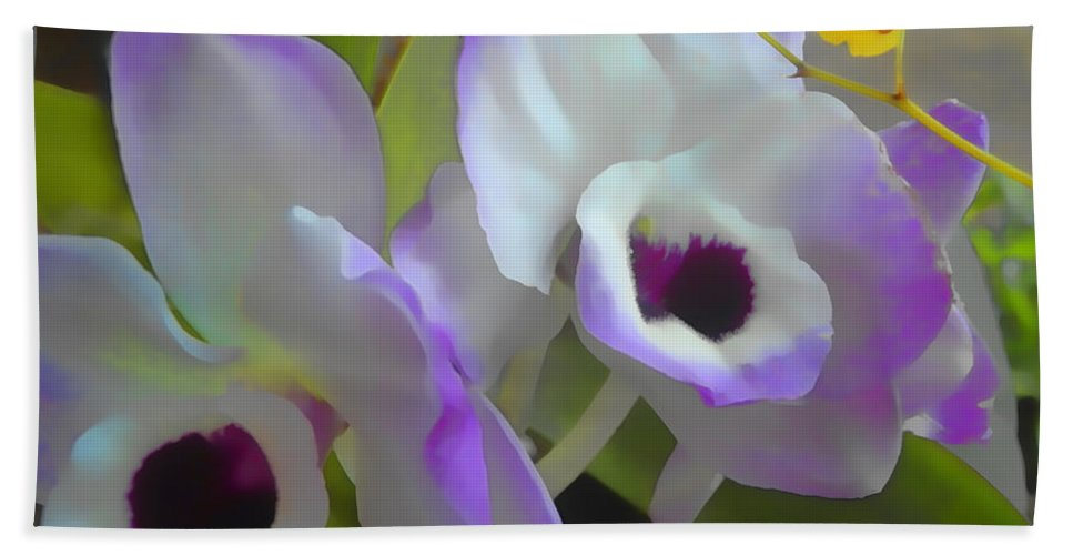 Orchids Hand Towel featuring the digital art Soft Majesty by Lyriel Lyra