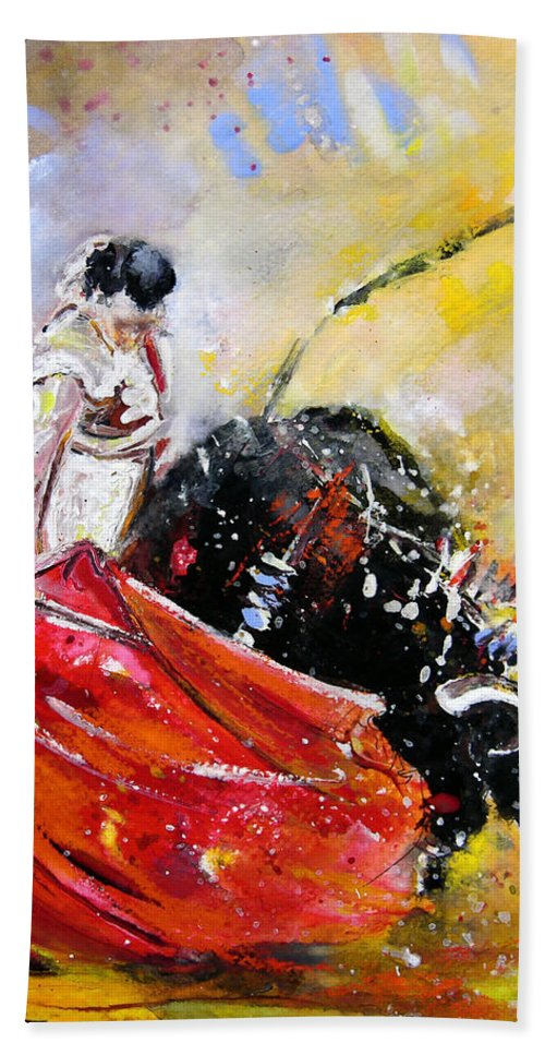 Bullfight Hand Towel featuring the painting Softly And Gently by Miki De Goodaboom