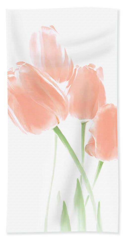 Tulip Bath Sheet featuring the photograph Softness Of Peach Tulip Flowers by Jennie Marie Schell