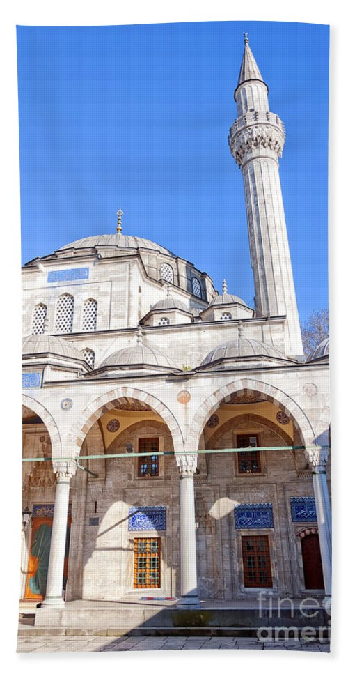 Istanbul Hand Towel featuring the sokullu pasa camii Mosque 03 by Antony McAulay