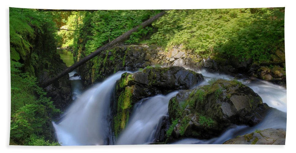 Waterfall Hand Towel featuring the photograph Sol Duc Falls by John Absher