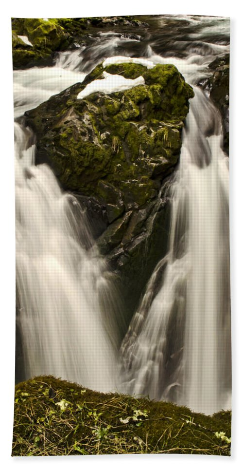 Cascades Hand Towel featuring the photograph Sol Duc River Cascade by Heather Applegate