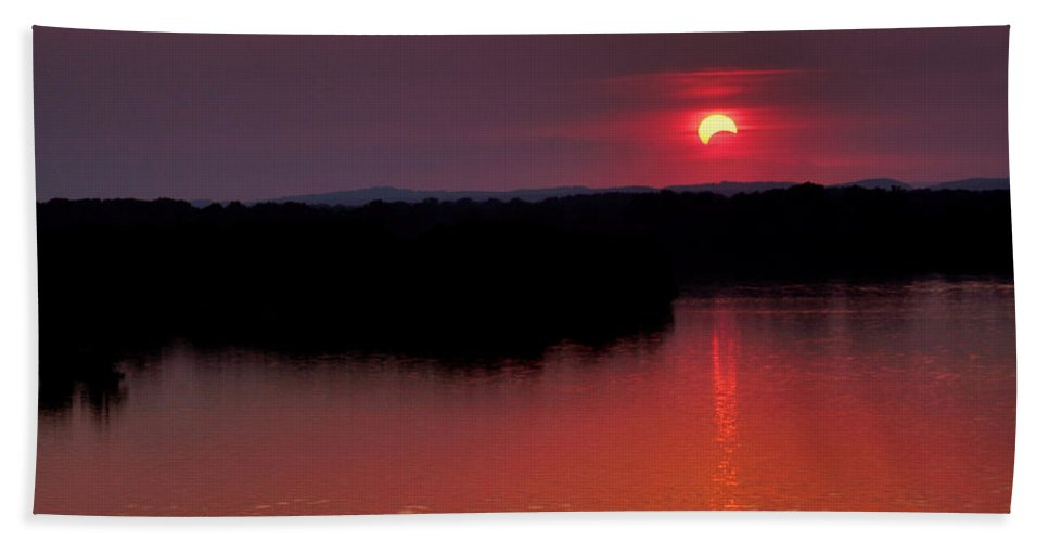 Solar Eclipse Hand Towel featuring the photograph Solar Eclipse Sunset by Jason Politte