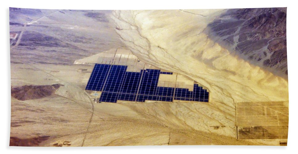 Solar Panels Bath Sheet featuring the photograph Solar Panels Aerial View by Thomas Woolworth