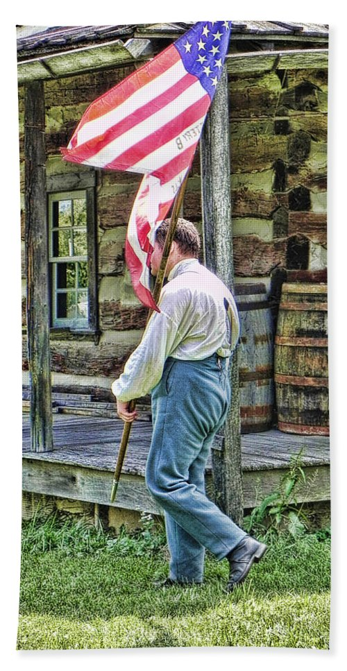 Soldier Hand Towel featuring the photograph Soldier At Bedford Village Pa by Kathy Churchman