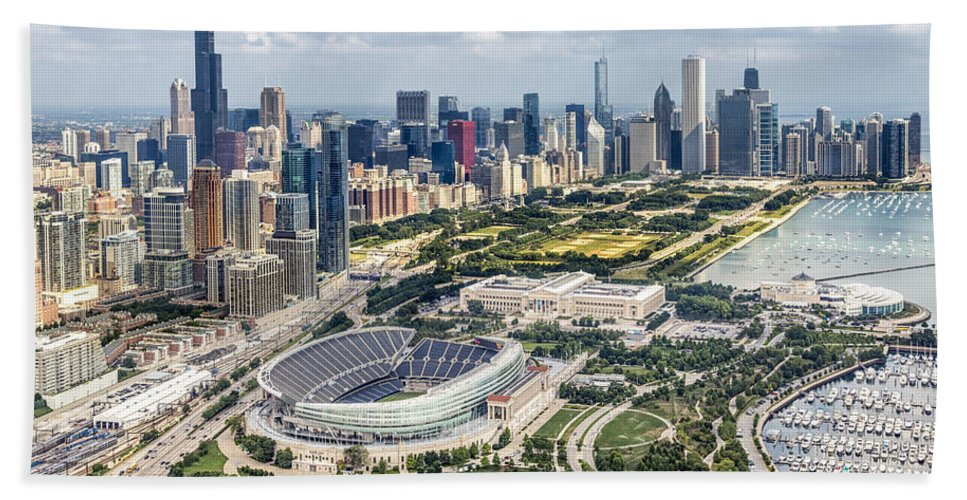 3scape Bath Towel featuring the photograph Soldier Field and Chicago Skyline by Adam Romanowicz