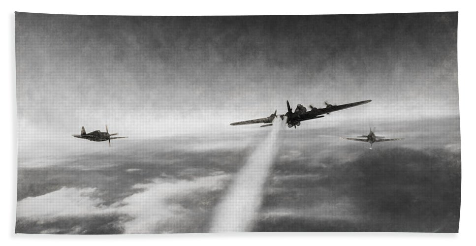 Boeing B-17g Flying Fortress Bath Sheet featuring the digital art Wounded Warrior - Charcoal by Tommy Anderson