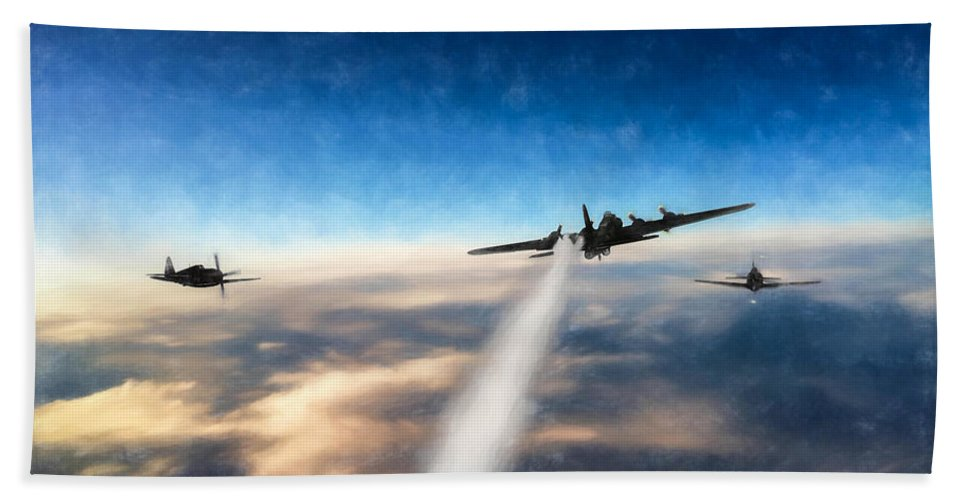 Boeing B-17g Flying Fortress Bath Sheet featuring the digital art Wounded Warrior - Pastel by Tommy Anderson