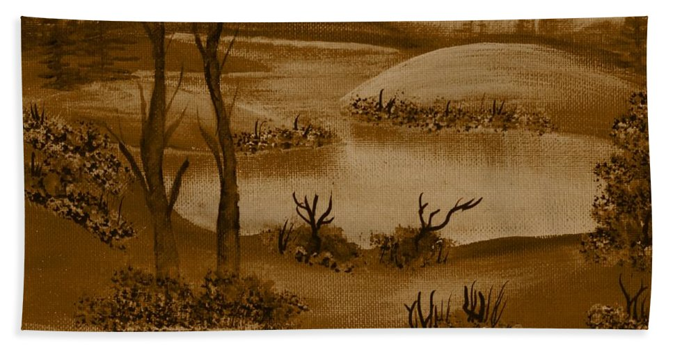 Solitude Bath Sheet featuring the painting Solitude Of Winter by Barbara Griffin