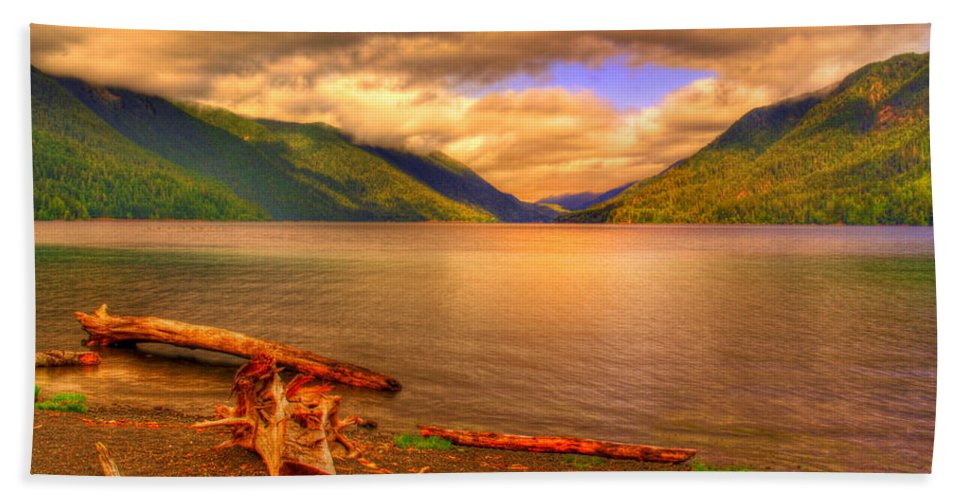 Lake Bath Sheet featuring the photograph Solitude On Crescent Lake by John Absher