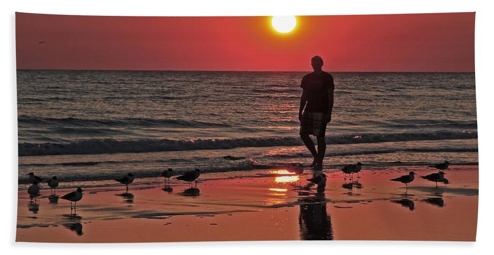 Sunset Bath Sheet featuring the photograph Solitude by Pat Walsh