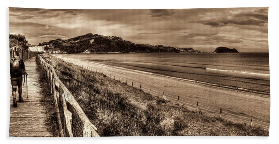 Coast Hand Towel featuring the photograph Solitude Sepia by Weston Westmoreland