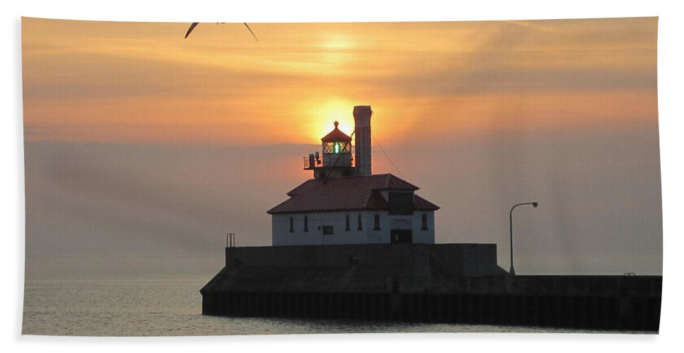 Lighthouse Hand Towel featuring the photograph Solo Flight by Alison Gimpel