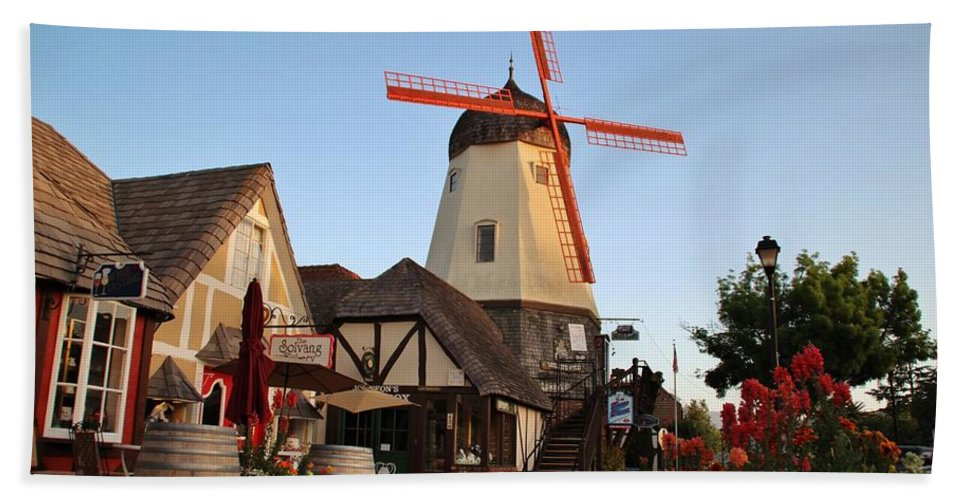 Solvang Hand Towel featuring the photograph Solvang by Debra Farrey