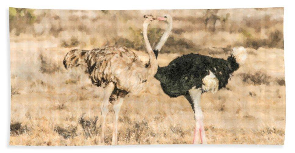 Kenya Hand Towel featuring the digital art Somali Ostriches Kissing by Liz Leyden