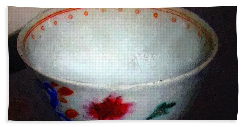 Antique Hand Towel featuring the painting Somebody's Old Bowl by RC DeWinter
