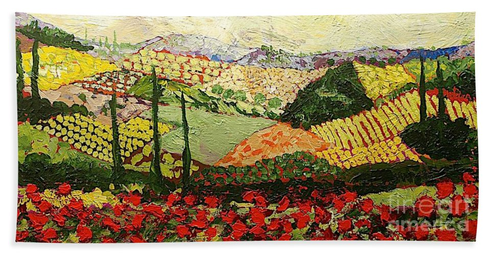 Landscape Bath Towel featuring the painting Something Red by Allan P Friedlander