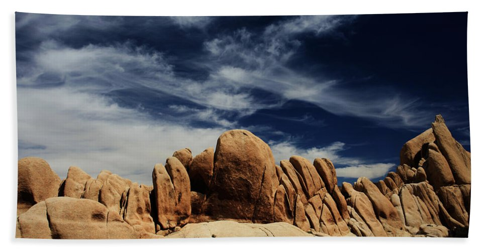 Joshua Tree National Park Bath Sheet featuring the photograph Songs Of Misery by Laurie Search