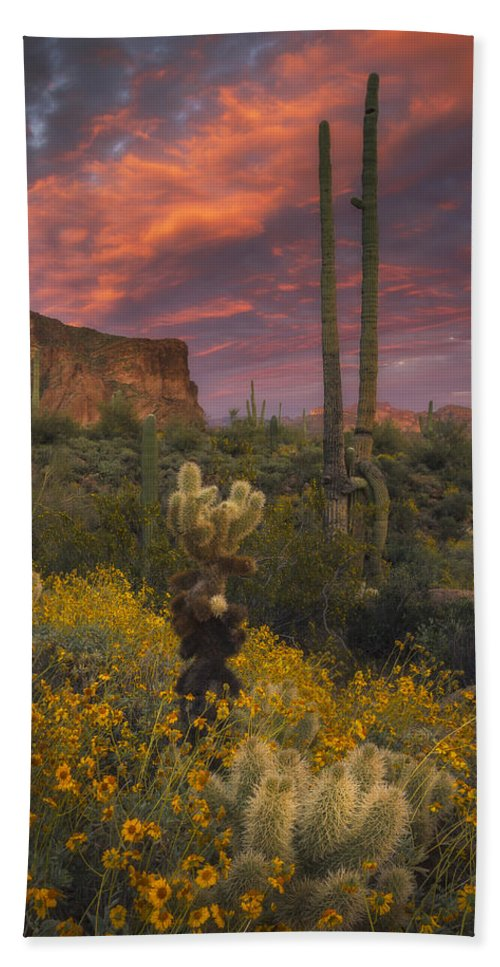 Superstition Mountains Hand Towel featuring the photograph Sonoran Romance by Peter Coskun