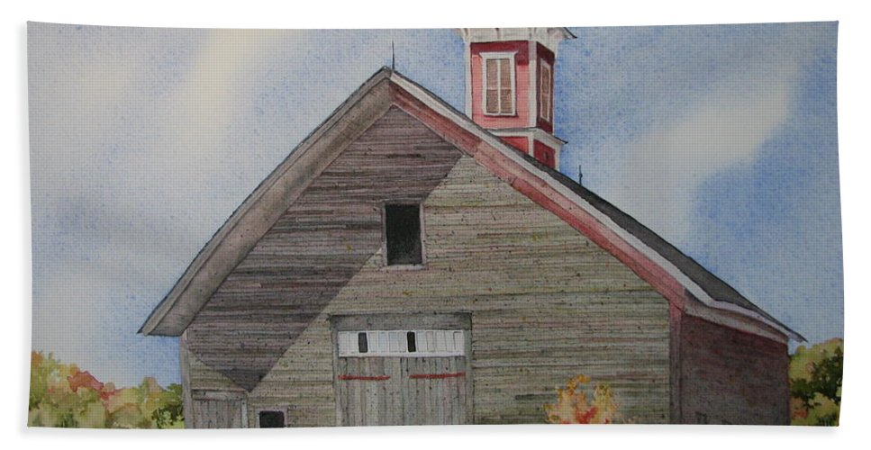 Farm Building Bath Towel featuring the painting Soon To Be Forgotten by Mary Ellen Mueller Legault