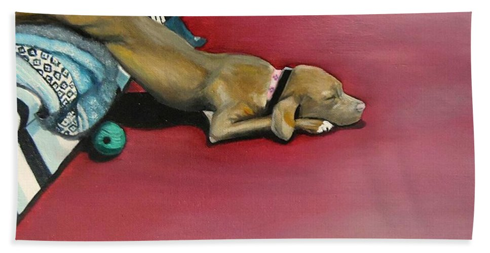 Dog Hand Towel featuring the painting Sooo Sleepy by Janet Guss