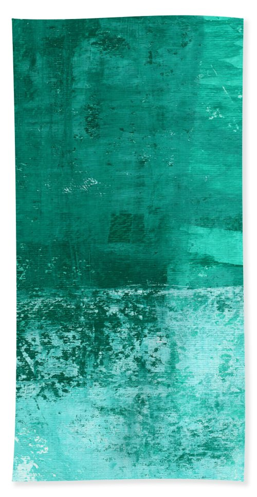 Abstract Art Bath Towel featuring the painting Soothing Sea - Abstract painting by Linda Woods