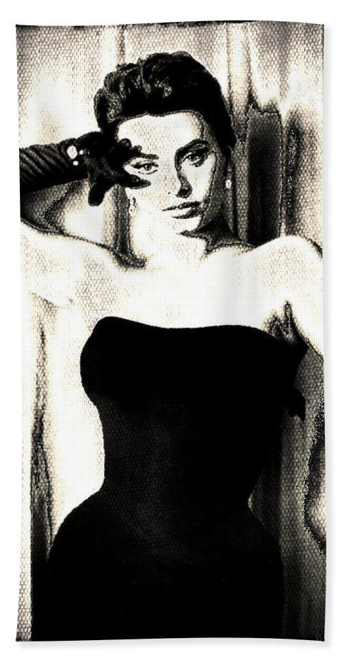 Sophia Loren Hand Towel featuring the digital art Sophia Loren - Black And White by Absinthe Art By Michelle LeAnn Scott
