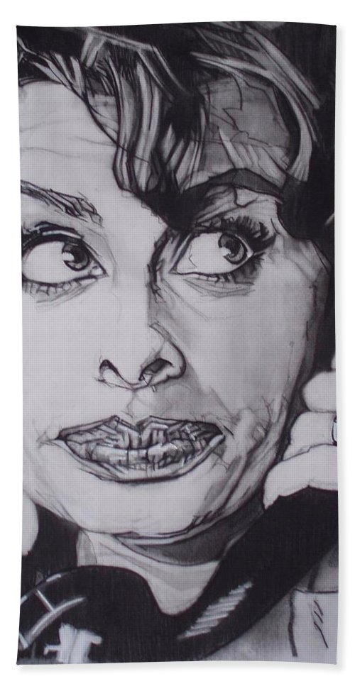 Charcoal;icon;actress;diva;italian;cat Eyes;beautiful;cute;adorable Bath Towel featuring the drawing Sophia Loren Telephones by Sean Connolly