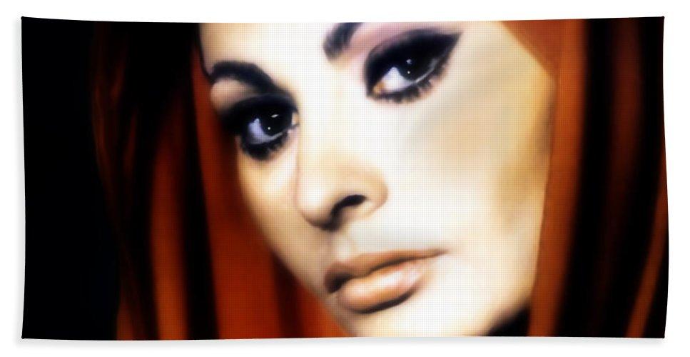 Beautiful Hand Towel featuring the painting Sophia Loren by Georgiana Romanovna