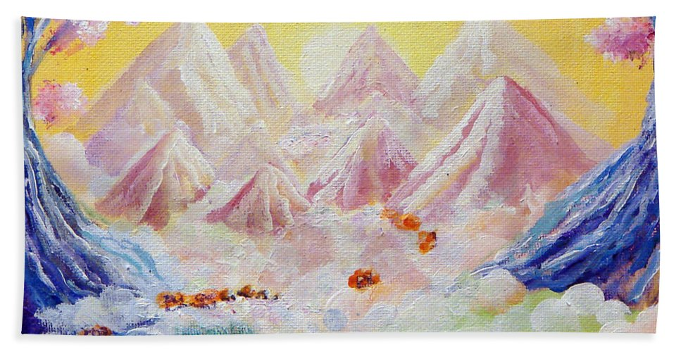 Landscape Bath Sheet featuring the painting Sorrows All Disappear by Ashleigh Dyan Bayer