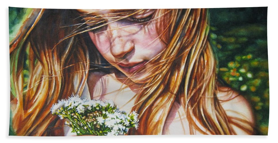 Girl Bath Sheet featuring the painting Soul Blossoms by Tracy Male