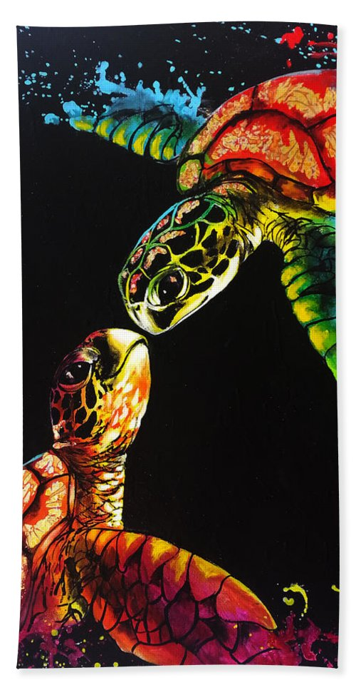 Turtles Bath Sheet featuring the painting Soul Mates by Marco Antonio Aguilar