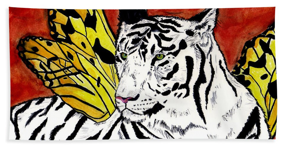 Tiger Hand Towel featuring the painting Soul Rhapsody by Crystal Hubbard