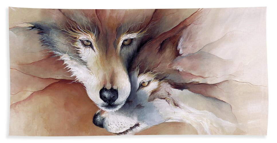 Wolf Wolves Animals Wildlife Print Nature Mammal Companion Love Soul Mate Mary Zins Endangered Hand Towel featuring the painting Soulmate by Mary Zins