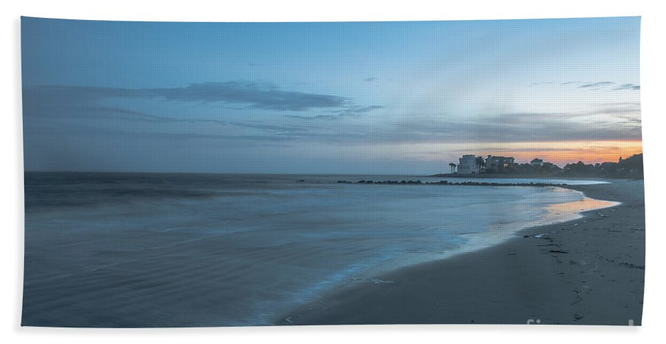 Sunset Bath Sheet featuring the photograph Sounds Of The Ocean by Dale Powell