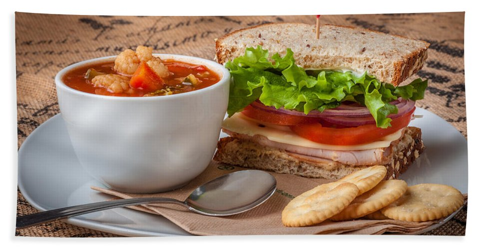 Soup Hand Towel featuring the photograph Soup And Sandwich by Mike Penney