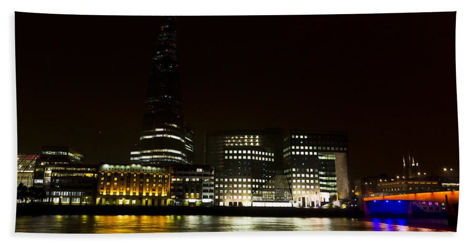 The Shard Bath Sheet featuring the photograph South Bank London by David Pyatt
