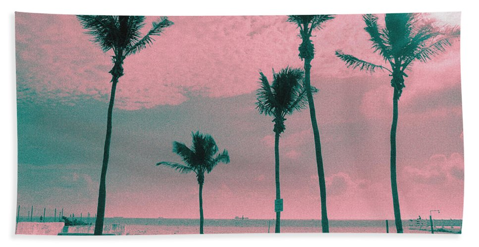 Florida Hand Towel featuring the photograph South Beach Miami Tropical Art Deco Five Palms by Steven Hlavac