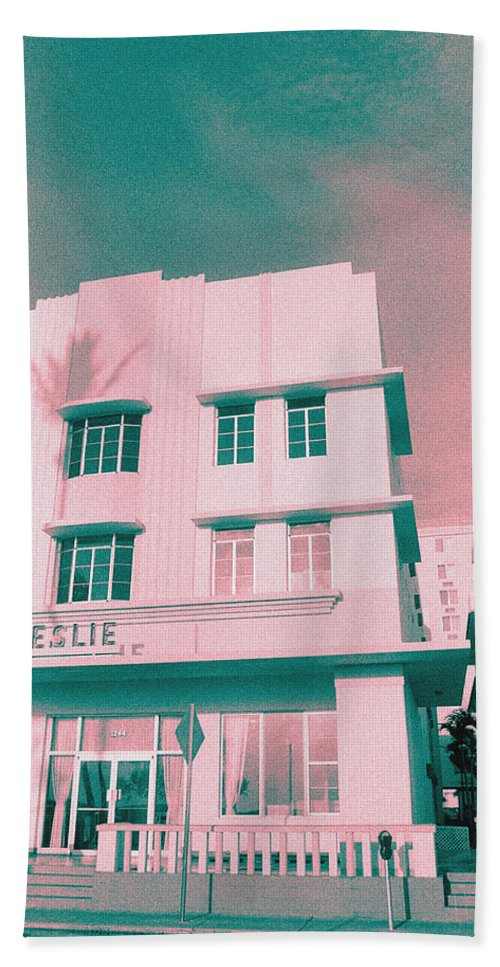 Florida Hand Towel featuring the photograph South Beach Miami Leslie Tropical Art Deco Hotel by Steven Hlavac