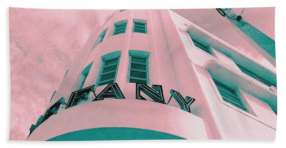 Florida Hand Towel featuring the photograph South Beach Miami Tiffany Hotel Tropical Art Deco by Steven Hlavac