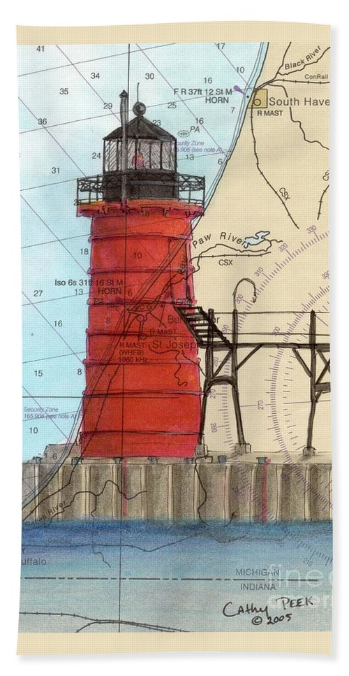 South Hand Towel featuring the painting South Haven Lighthouse Mi Nautical Chart Map Art Cathy Peek by Cathy Peek