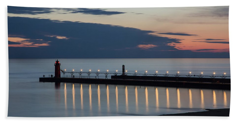 3scape Photos Bath Towel featuring the photograph South Haven Michigan Lighthouse by Adam Romanowicz