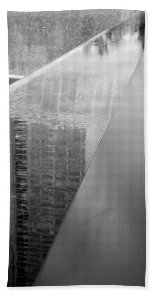 Wtc Hand Towel featuring the photograph South Tower Reflections In Black And White by Rob Hans
