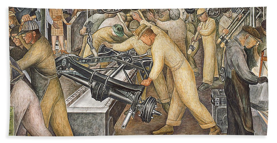 Machinery Hand Towel featuring the painting South Wall Of A Mural Depicting Detroit Industry by Diego Rivera