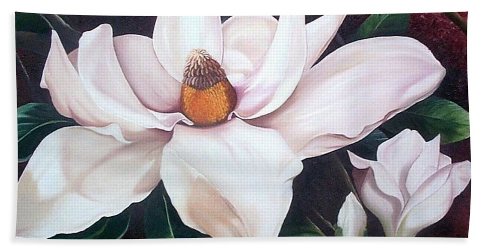 Magnolia Southern Bloom Floral Botanical White Bath Sheet featuring the painting Southern Beauty by Karin Dawn Kelshall- Best