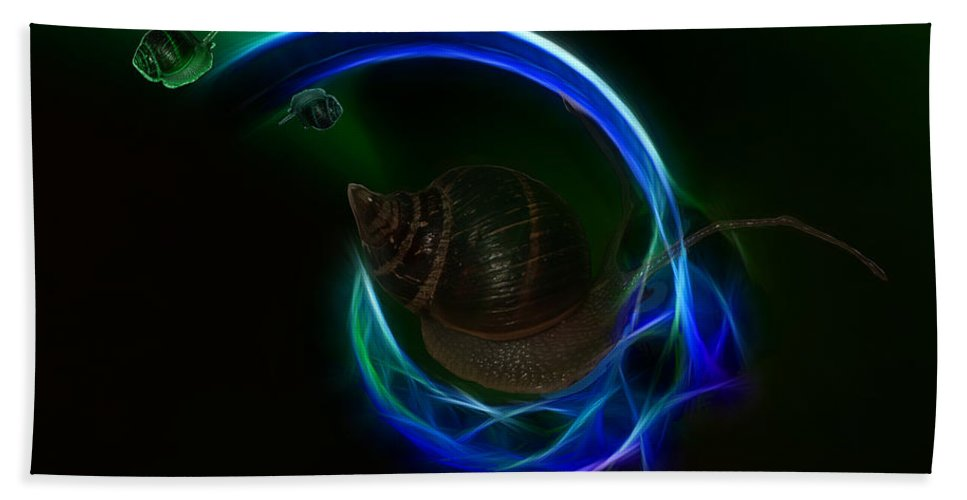 Southern Hand Towel featuring the digital art Southern Northern Lights by Angela Stanton