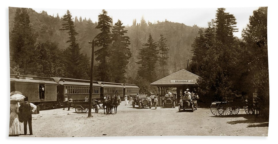 Southern Pacific Hand Towel featuring the photograph Southern Pacific Depot At Brookdale Santa Cruz Co. Cal. Circa 1910 by California Views Archives Mr Pat Hathaway Archives