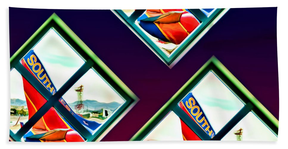 Conceptual Bath Sheet featuring the photograph Southwest Airlines by Maria Coulson