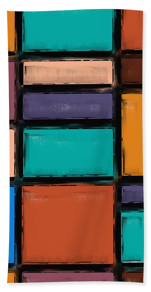Background Hand Towel featuring the painting Southwest Home And Garden Color Block by Heidi Smith